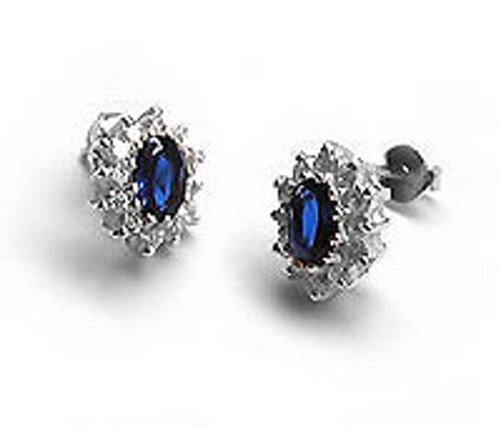 Sterling 925 Silver Stud Earrings Blue Sapphire & Cubic Zirconias