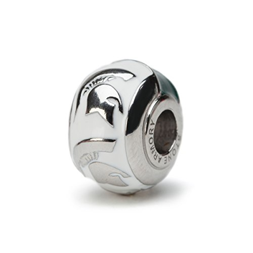 Michigan State 3-D Spartan Bead Charm - WHITE - Fits Pandora & Others
