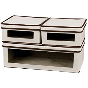 Household Essentials Three-Piece Vision Storage Boxes, Natural Canvas with Brown Trim