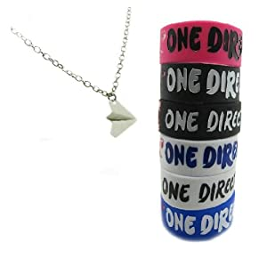 One Direction 6pcs Bracelet Wristband with 1 Pcs Harry Styles Airplane Necklace by Molie