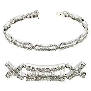 14k White 3.76 Ct Diamond Bracelet - JewelryWeb
