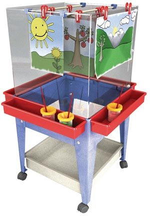 Manta Ray S13830 Blue Frame Four Station Easel With Mega-tray