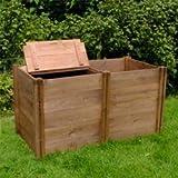 FSC Compact Twin Wooden Compost Bin (72x132x75cm)