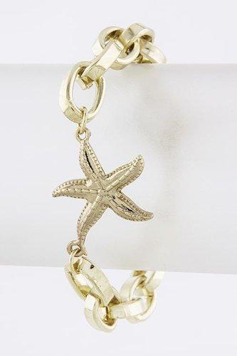 Trendy Fashion Jewelry Starfish Chain Bracelet By Fashion Destination | (Gold) front-200111