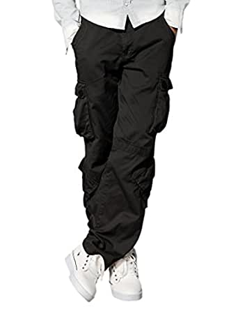 Match Men's Retro Casual Cargo Trousers #3357(Black,34)
