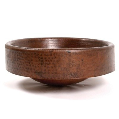 Plain Hammered 3″ Apron Copper Vessel Sink Finish: Shiny Copper