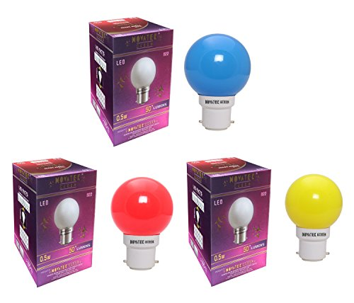 0.5W Led Bulbs (Pack of 3) (Multicolor: Red, Blue, Yellow)