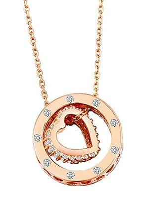 SCORPIUS GIFTS Metall Jewelled Ring hohle Herzen Halskette KOSTENLOSER Organza Geschenktüte - (Rose Gold Farbe)