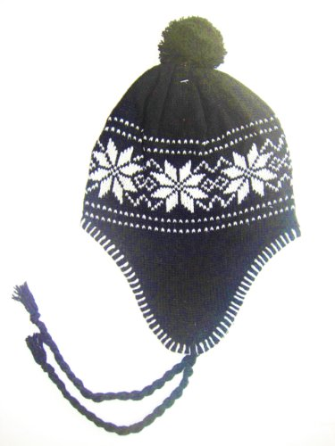 Norweger Winter Set 3- teilig für Damen bestehend aus 1 Paar Handschuhe und einer Mütze - erhältlich in 10 Farben Farbe schwarz
