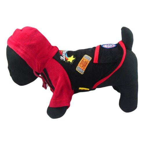 Alfie Couture Designer Pet Apparel - Kia Hooded Jacket - Color: Black, Size: M front-1026508