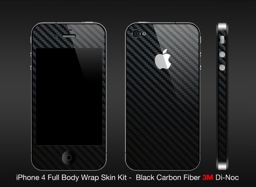 Iphone 4 Black Carbon Fiber Full Body Protection By CarbonIphone's (Comes with free ANTIGLARE screen guard and Polyurethane apple for ultimate protection)