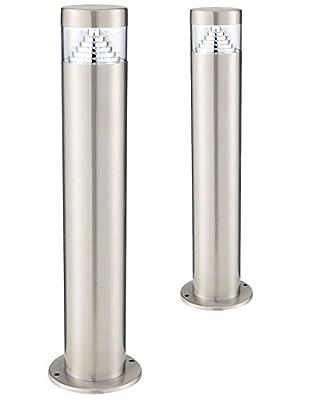 Set Of 2 LED Bollard Garden Lamp Post Stainless Steel Outdoor Ground Light Cool White