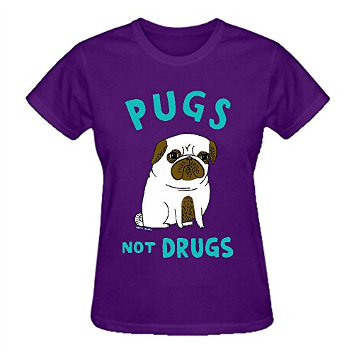 Firebo Pugs Not Drugs Cotton O Neck Tees Shirt For Women Purple