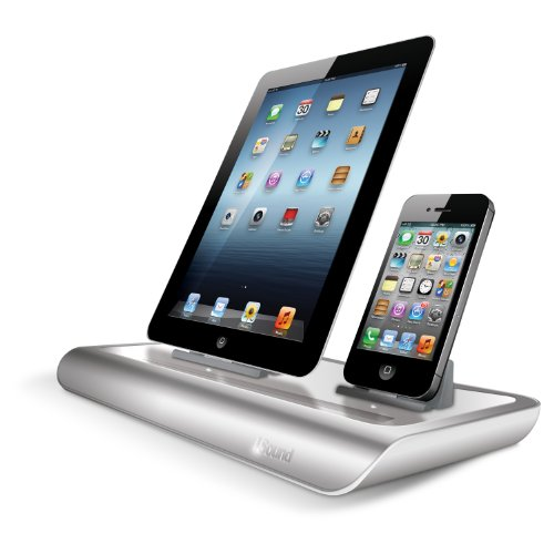 i.Sound Power View Pro S Charge and View Dock For Apple iPad 1 2 & 3, all iPhones (Except for iPhone 5 and above) , all iPod touches and more. Color: Aluminum/Gloss White. Model ISOUND-4719