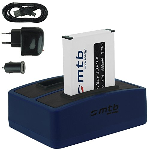 mtb Akku + Dual-Ladegerät (Netz+Kfz+USB) für Samsung SLB-10A / Toshiba Camileo X-Sports / JVC Adixxion / Silvercrest / Medion Action Cam.. s. Liste