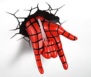 3d Deco Superhero Wall Lights Review : Amazon.com: Spider Man Hand Superhero 3D Deco Light Cordless Battery Operated Crack Sticker ...
