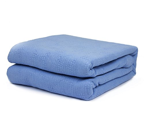 Twin Size 100% Cotton Thermal Blanket (Blue Color)