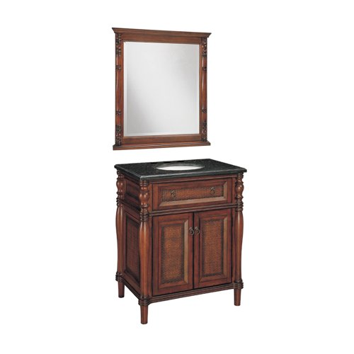 Samson 547-11-0705C 30-Inch Bombay Bathroom Vanity with Top and Mirror, Light Brown