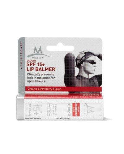 Mission Athletecare Lip Balmer Spf 15+, 0.10-Ounce Balm (Organic Strawberry)