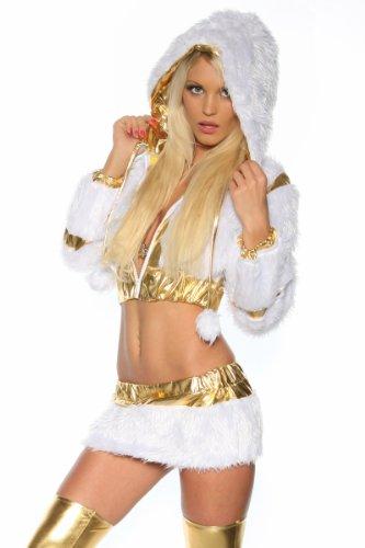 X-Mas / Weihnachts Kostüm Gogo - Set mit Felleinsätzen in gold / weiß Gr. S bis L