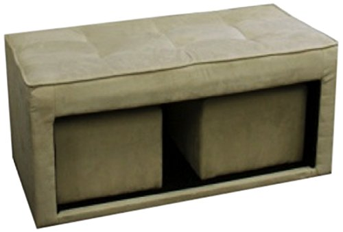 Ore International HB4484 Storage Ottoman Plus 2-Hidden Seating, 16.5-Inch