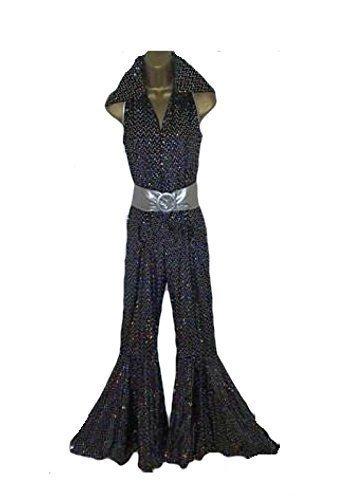 Abba Sequin Fancy Dress Jumpsuit & Belt for 70 Retro Disco Fever Size L (Women: