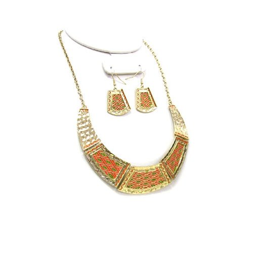 1700b 02 Crescent 5pc Red Green Gold Plated Necklace Earring Set