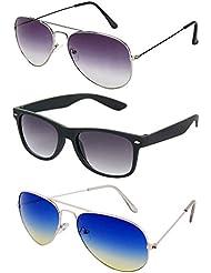 Rhodopsin UV Protected Purple Grey Aviator,Silver Blue Yellow Aviator And Black Wayfarer Sunglasses For Women...