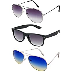 Rhodopsin UV Protected Purple Grey Aviator,Silver Blue Yellow Aviator and Black Wayfarer Sunglasses for Women (3_Purple_Grey_Sil_Blue_Yel_Avt_Bk_Way)