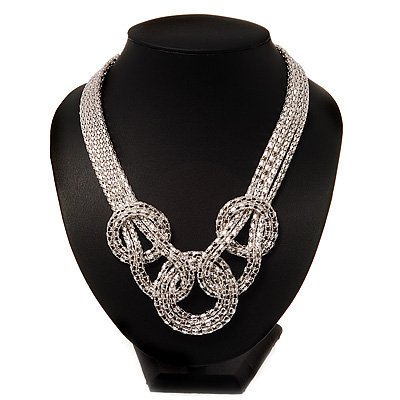 Silver Tone Mesh Knot Choker Necklace -38cm Length