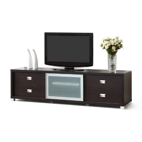 Baxton Studio Botticelli Brown Modern TV Stand with Frosted Glass Door