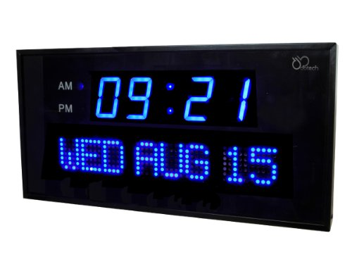 ... Big Digital LED Calendar Clock with Day and Date - Shelf or Wall Mount