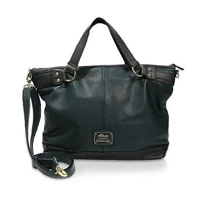s.Oliver (Bags) Feminin Material Mix Shopper 39.311.94.8920, Damen Shopper, Grün (Grün 7958), 43x31x13 cm (B x H x T)
