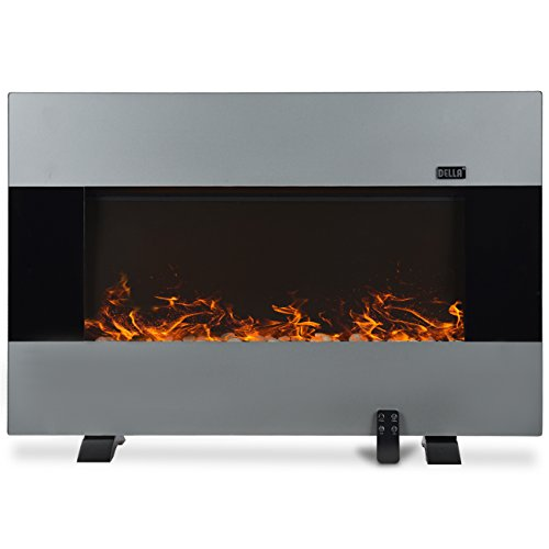 Della 1500W Heat Electric Wall Mount & Free Standing Fireplace Heater Silver w/ Remote (Modern Flame Fireplace compare prices)