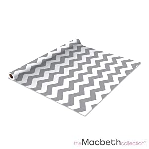 Self Adhesive Shelf Liner - 2 Pack - Rugby Chevron Graphite - Measure 1.5' H x 10' L (style# M-79820)