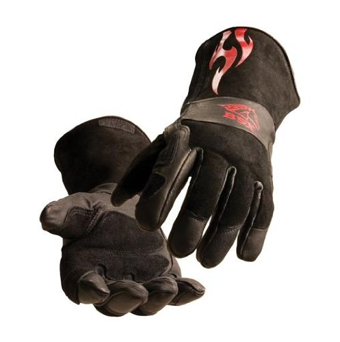BLACK STALLION BSX® Stick/MIG Welding Gloves - Black w/Red Flames - LARGE
