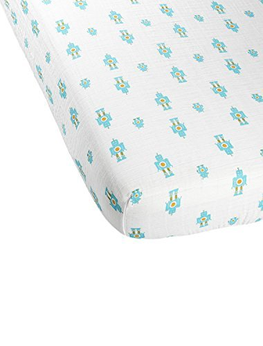 Aura Weavers Organic Muslin Crib Sheet, Playful Robots, Regular
