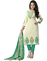 Clickedia Women's Straight Cut Poly Cotton Printed Off White Geen Salwar Suit - Dress Material