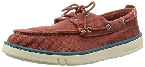 Timberland Uomo Hookset Handcrafted Red Ochre Scarpe da Barca Rosso Size: 41
