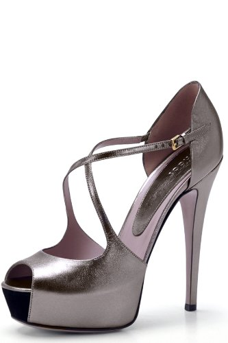 Gucci Lili Gunmetal Metallic Leather Pump