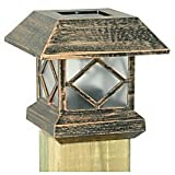 Moonrays 91248 Solar Powered Plastic Post Cap Lamp Light, Copper finish