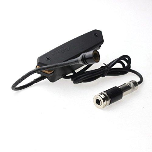 Surfing 2Pcs Black Acoustic Guitar Soundhole Pickups Tone Volume Control Pickups W/ Microphone