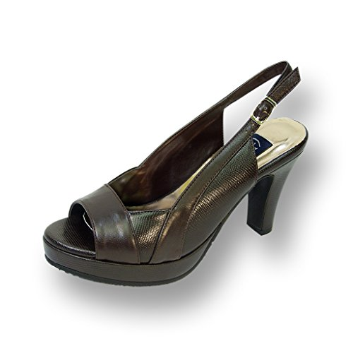 FIC PEERAGE Linda Women Wide Width Leather Slingback High Heel Platform Pump (Size & Measurement Chart)