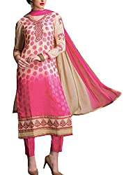 Call Moda Women's Georgette Unstitched Dress Material (RA-RX-0002_Pink_Free Size)