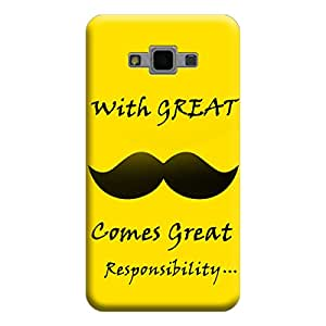 Desicase Samsung Grand Max / Grand 3 With Great Comes Great Responsibilities 3D Matte Finishing Printed Designer Hard Back Case Cover (Yellow)