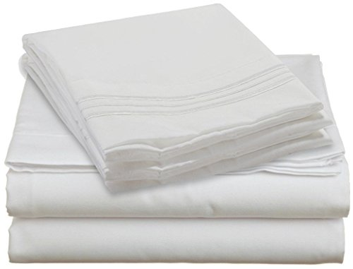 Hcs Hotels Colection 2000 (New Edition) Supreme 4 Pieces Bed Sheet Set Available In 15 Colors (California King, White)