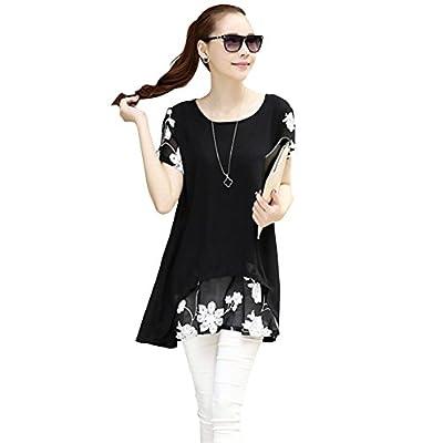 Weixinbuy Women's Loose Shirt Chiffon Floral Short Sleeve Blouse