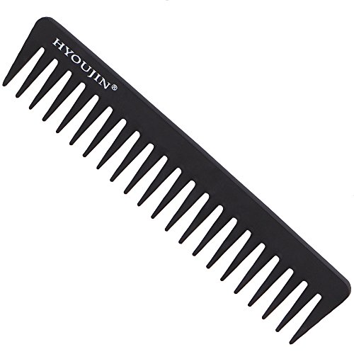 HYOUJIN® 601 Black Carbon Wide Tooth Comb, Rake Beard Comb, Detangler Hair Comb-Coming long wet hair, Hair Straighten-best for all kinds of hair especially curly hair-Heat Resistant (Carbon Teeth compare prices)