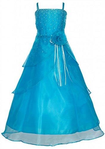 Wonder Girl Angelica Big Girls' Organza Tea Length Rhinestone Long Dress 8 Turquoise