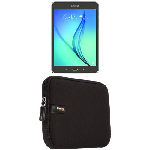 Samsung Galaxy Tab A 8-Inch Tablet (16 GB, SMOKY Titanium) with AmazonBasics Sleeve